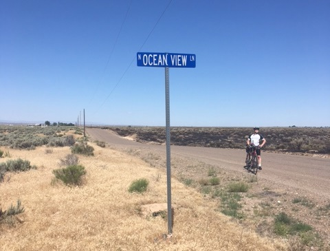 Signpost for North Ocean View Road in landlocked Idaho