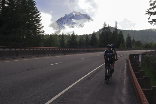 Climbing a mountain pass near mount Hood