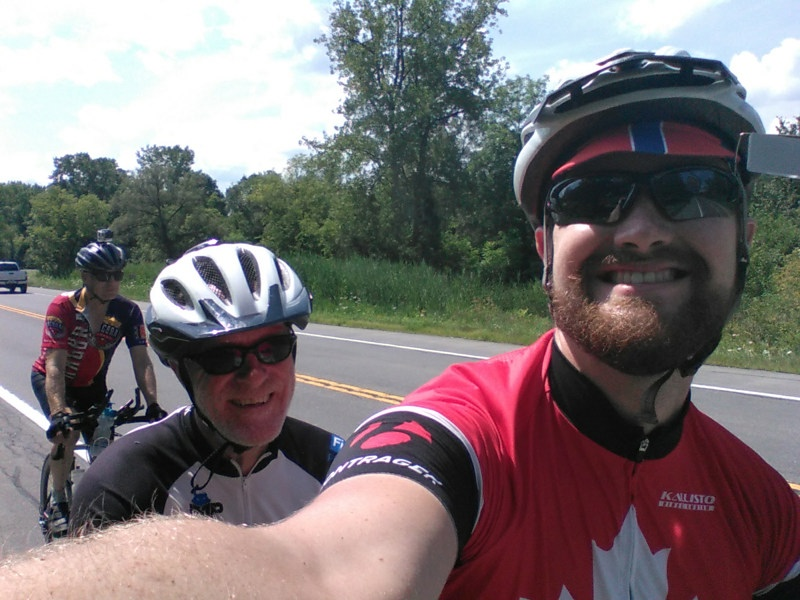 James sneaks a quick selfie from the tandem.