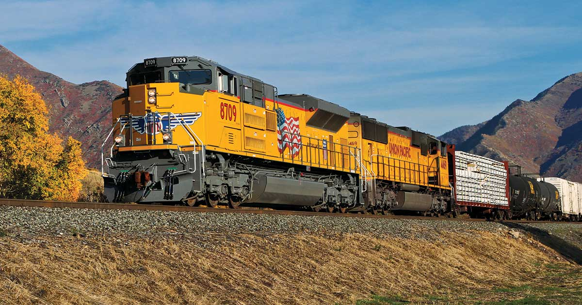 Union Pacific locomotives hauling a freight train