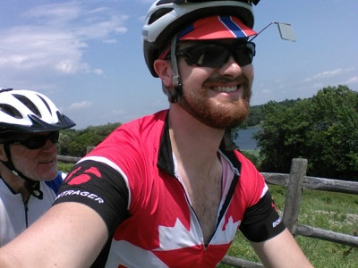 Another selfie from the bike as James and Chris whizz down the bike path