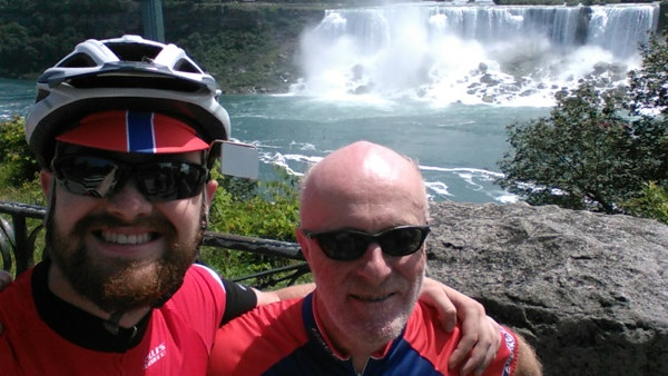 James and Chris pose in front of the American side of the falls